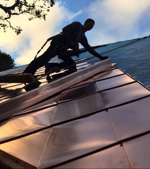 Thomas Larru installing a copper roof in Sausalito, California